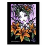 Carte postale gothique de fée de Lilly de tigre de