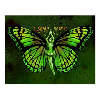 Carte Postale Honoraires Verte de La avec des ailes écartées