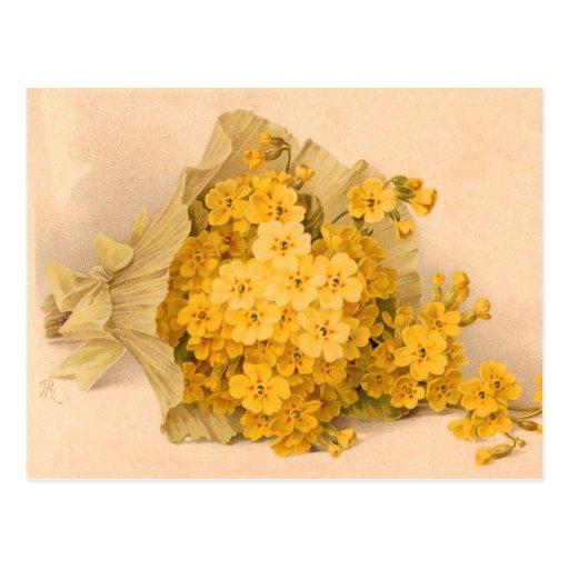 Carte postale jaune vintage de cru de fleurs
