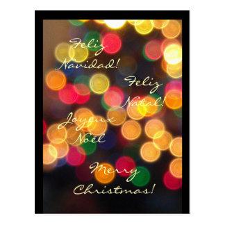 Carte Postale Joyeux Noël - 4 langues