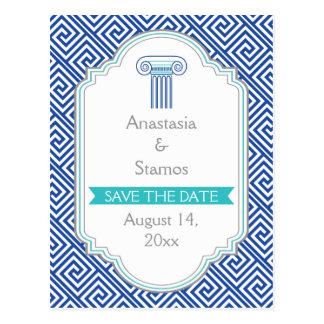 Carte Postale Le mariage grec bleu de clé et de colonne font