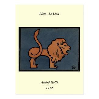 Carte Postale Lion - ancien, illustration de livre colorée