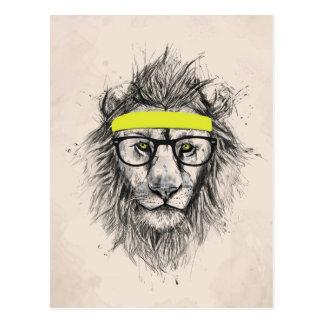 Carte Postale lion de hippie (fond clair)