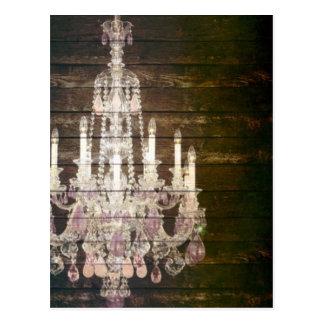 Carte Postale Lustre en bois de cru de Paris de grange rustique