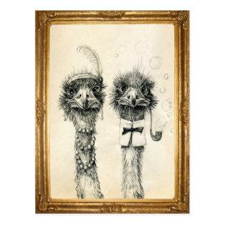 Carte Postale M. et Mme Ostrich encadrée