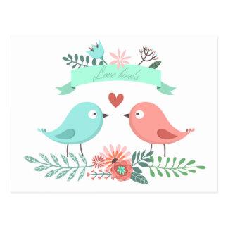Carte Postale Mariage bleu et rose d'inséparable floral de fleur