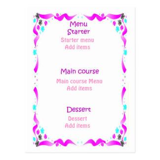 Carte Postale Menu de mariage - jeune mariée dans le rose