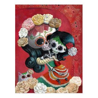 Carte Postale Mère et fille de Dia de Los Muertos Skeletons