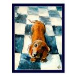 Carte postale mignonne de chien de teckel