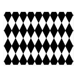 Carte Postale Motif blanc noir de harlequin