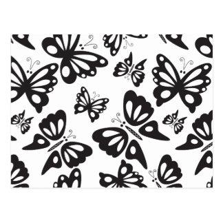 Carte Postale Motif de papillon - noir et blanc