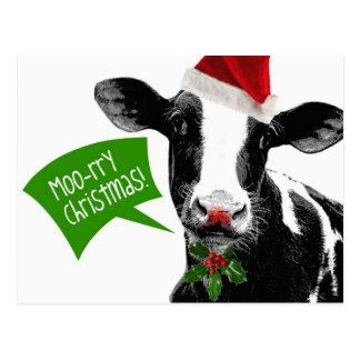 Carte Postale Noël rry de MOO ! Vache drôle à vacances dans le