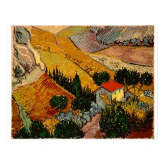 Carte Postale Paysage avec la Chambre et le laboureur, Vincent