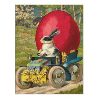 Carte Postale Paysage de voiture d'oeufs de lapin de Pâques