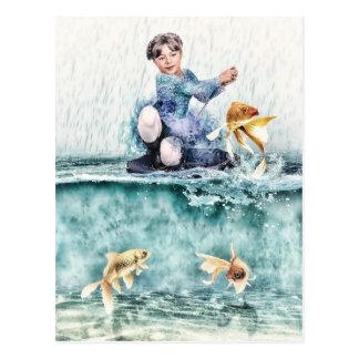 Carte Postale Pêche de fille pour les poissons magiques
