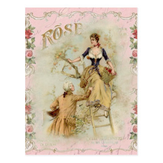Carte Postale Rose romantique d'amants de Paris shabbychic