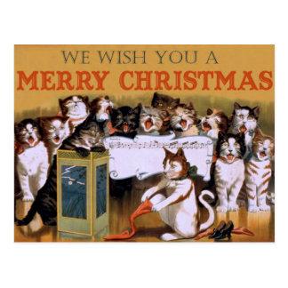 Carte Postale Salutation vintage de Noël de chats