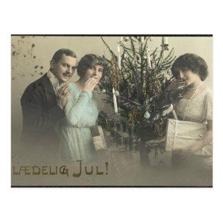 Carte Postale Salutations vintages de Noël de femmes
