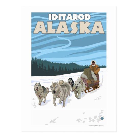 Carte Postale Scène Sledding de chien - Iditarod, Alaska