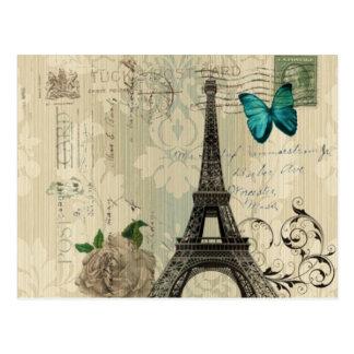 Carte Postale Tour Eiffel rose de Paris de papillon crème de