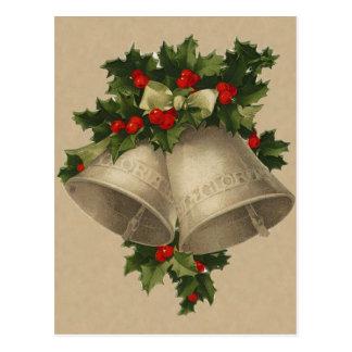 Carte postale victorienne de Bells de Noël