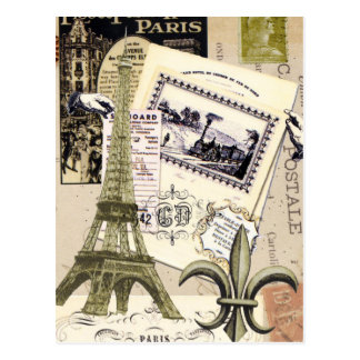 Carte postale vintage de collage de Paris…