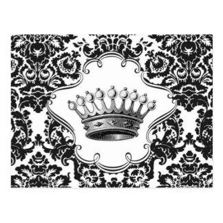 Carte postale vintage de damassé de couronne