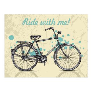 Carte postale vintage de dessin de bicyclette