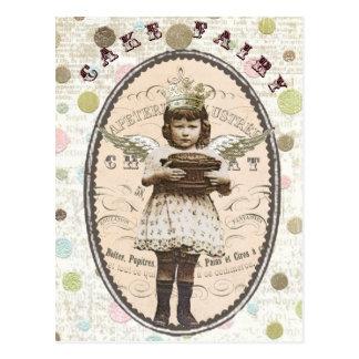carte postale vintage de fée de gâteau de photo
