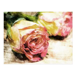 Carte postale vintage de roses dans l'aquarelle