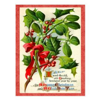 Carte postale vintage de vacances de houx