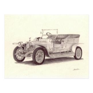 Carte Postale Voiture vintage : Fantôme argenté de Rolls Royce