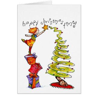 """Carte pour notes de vacances """"de temps de Noël heu"""