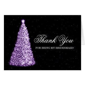 Carte Pourpre de demoiselle d'honneur de Merci de Noël