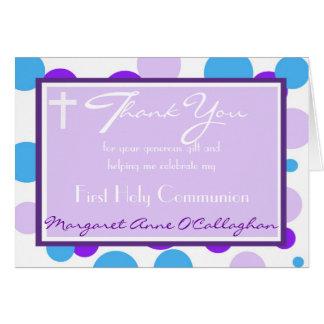 Carte Premier Merci de communion - fille
