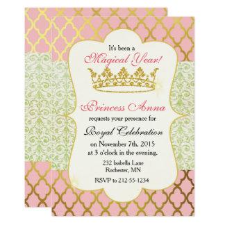 Carte Princesse Birthday Invitation-Rose et or