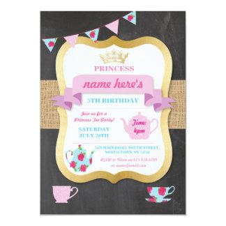 Carte Princesse Crown Alice Birthday d'invitation de thé