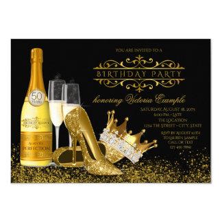 Carte Princesse noire Birthday de talons hauts de l'or