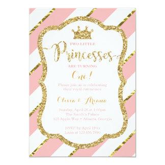 Carte Princesses jumelles Birthday Invitation, rose, or