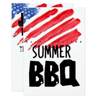 Carte quatrième de barbecue coloré de juillet