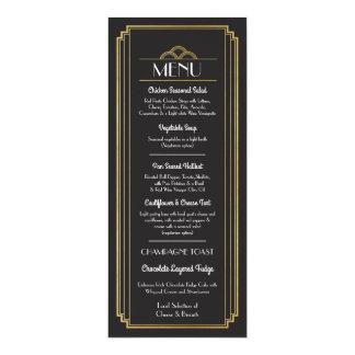Carte Réception de mariage de noir d'or de menu d'art
