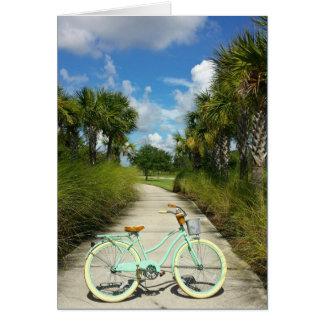 Carte Retraite - bicyclette et palmiers Solivita la