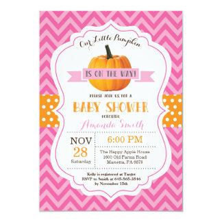 Carte Rose Chevron d'invitation de baby shower de