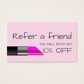 Carte rose de référence de rouge à lèvres