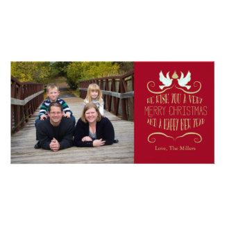 Carte Rouge de bonne année de Joyeux Noël de colombe