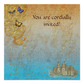 Carte royale d'invitation de château médiéval de carton d'invitation  13,33 cm