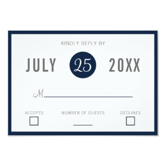 Carte Rsvp moderne d'invitations de mariage de bleu
