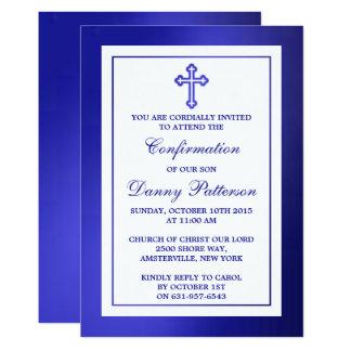 Carte Sainte communion ou confirmation croisée bleue