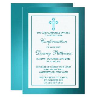 Carte Sainte communion ou confirmation croisée turquoise