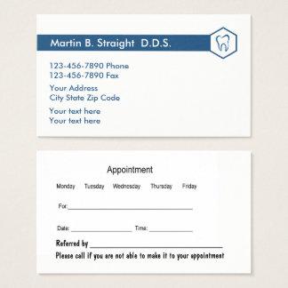 Carte simple et rendez-vous de bureau de dentiste